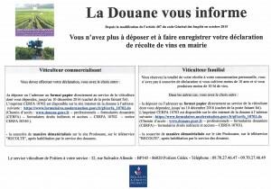 AFFICHE DECLARATION RECOLTE DE VINS