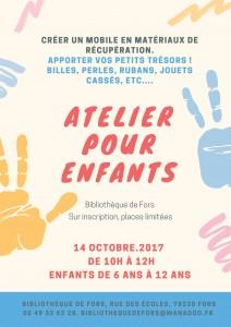 Atelier pour enfants 14 octobre 2017