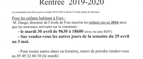 Inscriptions Rentrée 2019-2020